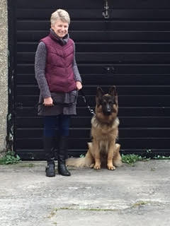 Riley the German Shepherd and owner Carina