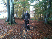 Warbie the labrador and owner Keith