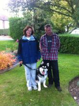 Debbie, huby and Dave the malamute